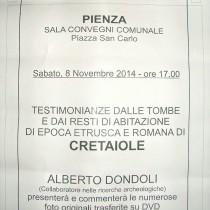 Testimonianze dalle tombe e dai resti di abitazione di epoca etrusca e romana di Cretaiole <br> Sabato 8 Novembre 2014 – Sala Convegni Pienza