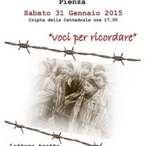 Giorno della Memoria<br>Sabato 31 Gennaio 2015, ore 17.00<br> Cripta della Cattedrale, Pienza