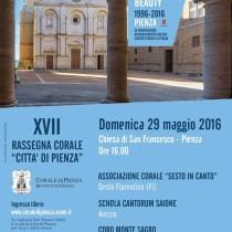XVII RASSEGNA CORALE CITTA' DI PIENZA <br> Domenica 29 Maggio, ore 16.00