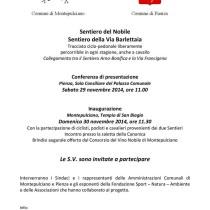 Comuni di Pienza e Montepulciano <br> Sentiero della Via Barlettaia – Sentiero del Nobile <br> Sabato 29 – Domenica 30 Novembre 2014